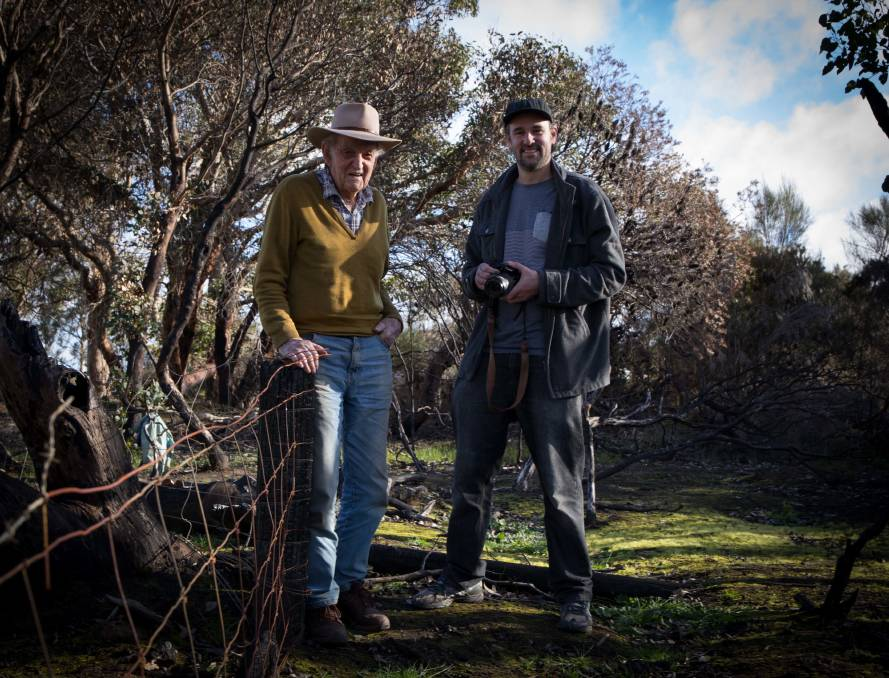 FARM FIGHTER: Des Johnston, one of the subjects of the new Soldier Settler documentary 'Fighting to Farm', with Kangaroo Island filmmaker Daniel Clarke. Photo: Amy Pysden